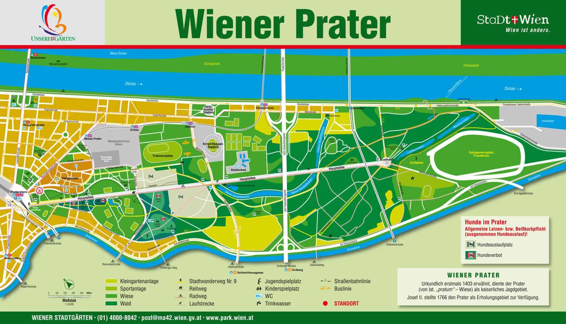 der Wiener Prater in unmittelbarer Nähe